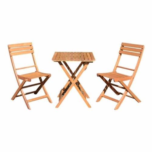 SEDEX Balkon-Set Diego Terassenset Bistroset Balkonmöbel 2X Klappstuhl + 1x Tisch FSC® 100% Eukalyptusholz Massiv