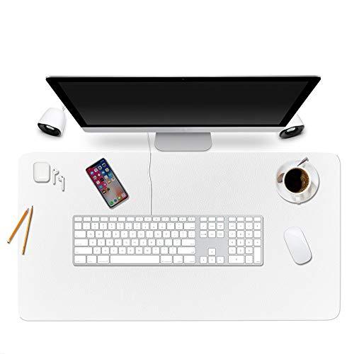 "Desk Pad Protector Office Desk Mat, BUBM Waterproof PU Leather Desk Writing Mat Laptop Large Mouse Pad Desk Blotters Desk Decor for Office Home, 35.4"" x 17"" White"
