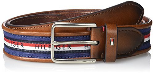 Tommy Hilfiger Men's Ribbon Inlay Belt - Fabric Belt with Single Prong Buckle, Navy Stripe, 38