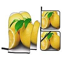 レモン 耐熱ミトン 断熱オーブンミトン キッチンミトン 鍋敷ミトン 鍋つかみ おしゃれ 厚手 耐熱 防水 男女兼用 左右兼用 4枚セット