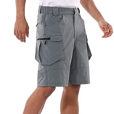 "BALEAF Men's 10"" Hiking Cargo Shorts Lightweight Quick Dry Golf Outdoor Active Sport Short Zipper Pockets Gery L Dark Gray"
