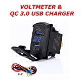 Switchtec Quick Charge 3.0 Dual USB Rocker Switch Style Charger Blue Voltmeter for Boats, Polaris, RZR 1000, Ranger, Mobile Home, RV, Can Am Spyders, Can Am Maverick, Can AM SxS, Golf Cart