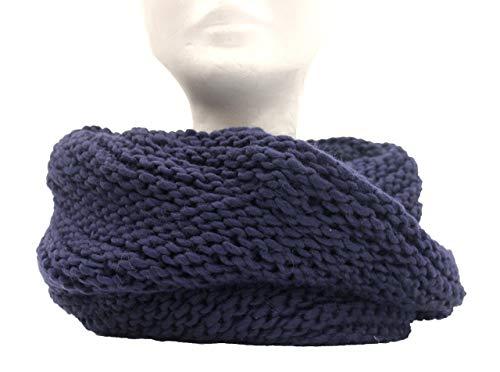 Scaldacollo in maglia, sciarpa ad anello intrecciato col. Blu scuro fatto in Italia Made in Italy