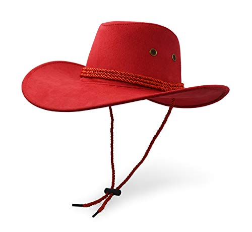 Cowboy Hat, Sun Hat Faux Felt Leather Suede Travel Cap Western Hat Outdoor Sun Protect Red
