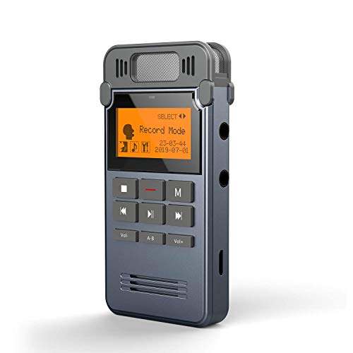 Dictaphone Enregistreur, COOAU 8Go Enregistreur numérique Magnétophone, Rechargeable Enregistreur Vocal Lecteur Mp3/A-B Répète, Grand écran et Facile à utiliser, pour Conférences/Cours/Interviews