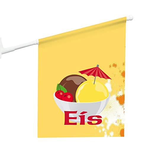 Vispronet® Eisfahne Eisbecher Eiscafé ✓ 46 x 52 cm ✓ Vinylplane ✓ doppelseitig Bedruckt ✓ inkl. Wandhalterung