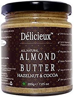 Délicieux All Natural Almond Butter Hazelnut and Cocoa Powder/Badam-200 gm ( Stone Ground Vegan Butter)