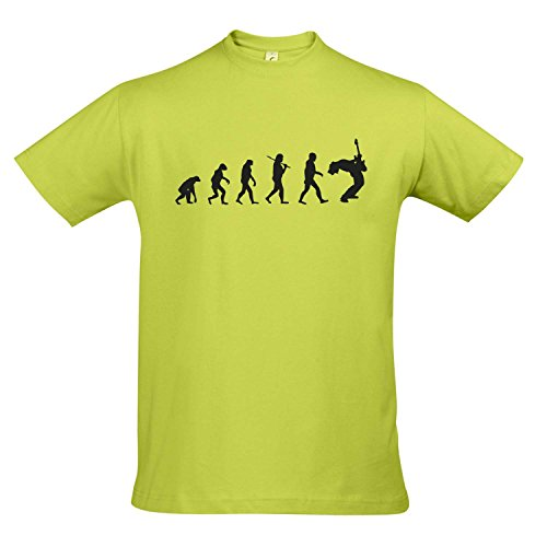 T-Shirt - Evolution - Gitarre Musik Guitar Fun Kult Shirt S-XXL, Apple Green - schwarz, S