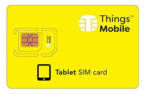 SIM Card DATI PREPAGATA per TABLET - Things Mobile - con copertura globale e rete multi-operatore GSM/2G/3G/4G LTE, senza costi fissi, senza scadenza e tariffe competitive con 10€ di credito incluso