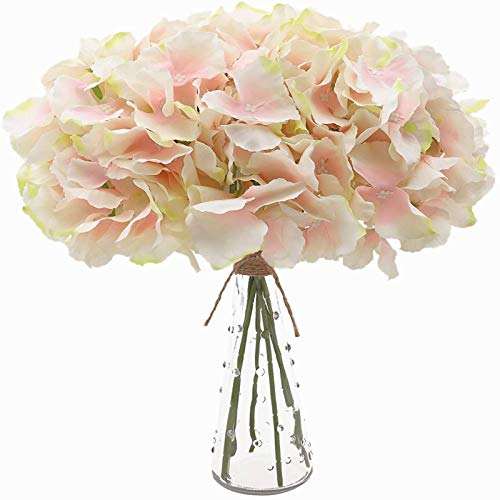 YYHMKB 12Pcs Artificial Hydrangeas With Stems, 54 Petals Realistic Silk Hydrangea Fake Flowers For Wedding Home Office Party Café Arches Decoration, Pink Core