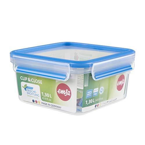Emsa N1011300 Clip & Close Frischhaltedose quadratisch (Fassungsvermögen 1,3 Liter, Clip-Verschluss, Kunststoff) Transparent/Blau