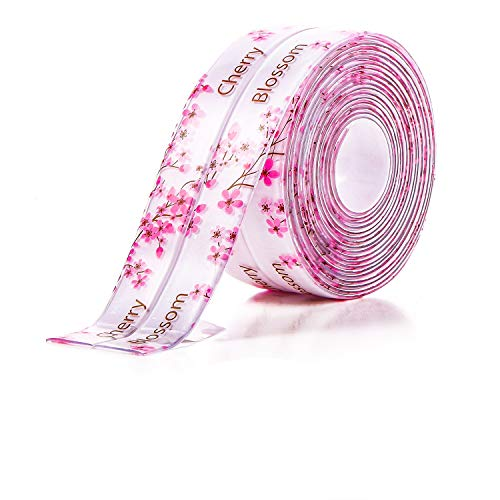 Caulk Tape Self Adhesive Caulk Strip Super Stick Sealing Tape Waterproof Sink Tape, Anti-Mildew Tape for Kitchen Bathtub Toilet and Wall Corner, 1.5 Inch x 10.5 Feet, Cheery Blossoms