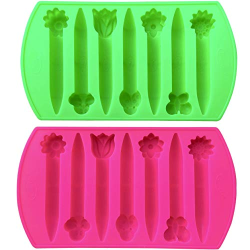 CraCycle 2 Flowers & Insects Shaped Chunky Silicone Oven Safe Crayon Molds (Makes 14 Crayons) Reusable - by My Fruit Shack