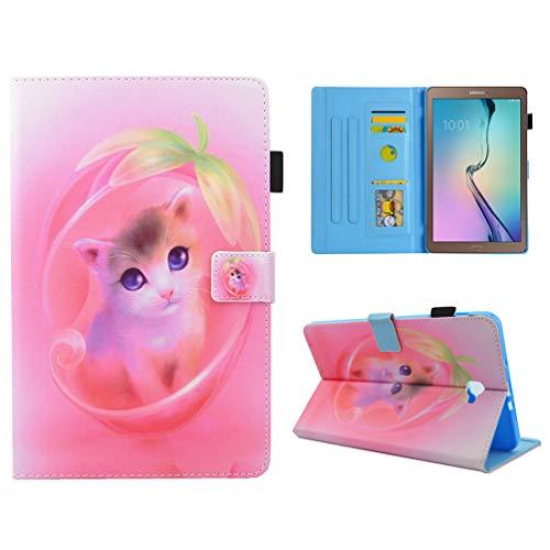 MOTIKO - Funda para Samsung Galaxy Tab A 10.1 SM-T580/T585 a Prueba de Golpes, Ligera, de Piel sintética, con Tapa, Protector Trasero de Silicona Flexible Gato Rosa.