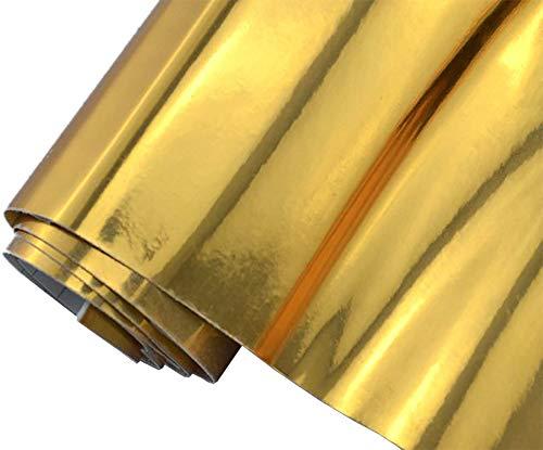 6€/m² Auto Folie - Chrom gold 200 x 150 cm - selbstklebend BLASENFREI flexibel Car Wrapping Klebefolie folieren