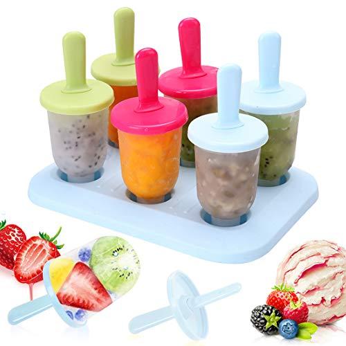 Bluelves EIS Form, 6 Eisformen Popsicle Formen Set, Eiswürfelbereiter Eisförmchen Stieleisformer LFGB Geprüft und BPA Frei Wiederverwendbare Mini Ice Pops Form 3 Farben