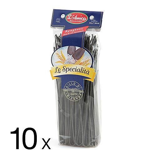 D'Amico Spezialitäten - Spaghetti ohne Ei mit Tintenfisch - 10 Packungen (10 x 250g Packung)