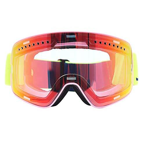 ZKAMUYLC Skibrille Snowboard Skibrille Damen Herren Ski Brillen Maske UV 400 Schneeschutzbrille Erwachsene Doppel Sphärisch Verspiegelt Magnetisch, Pinke Linse