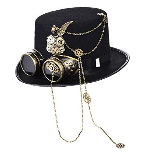 S-TROUBLE Sombrero de Copa Steampumk Hecho a Mano Unisex para Adultos, Gafas góticas Punk victorianas Vintage, Cadena de Metal, Gorra de Jazz para Fiesta de Halloween, Cosplay