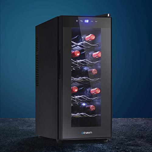 Devanti Wine Cooler 12 Bottle Wine Fridge Thermoelectric Chiller Storage Bar Fridge Cellar Black