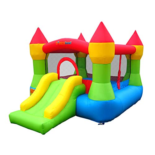 Bounceland Bounce House Castle with Basketball Hoop Inflatable Bouncer, Fun Slide, Safe Velcro...