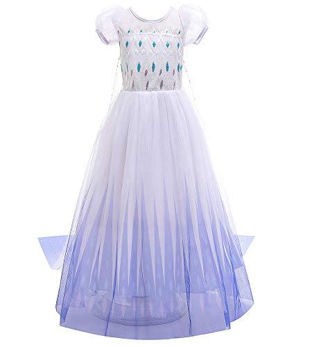 O.AMBW Elsa Frozen 2 Vestido Capa removible para niñas pequeñas Cosplay Princesa Frozen Fiesta de Disfraces Carnaval Vestidos de cumpleaños Mangas Cortas abullonadas Ropa Casual Traje Formal