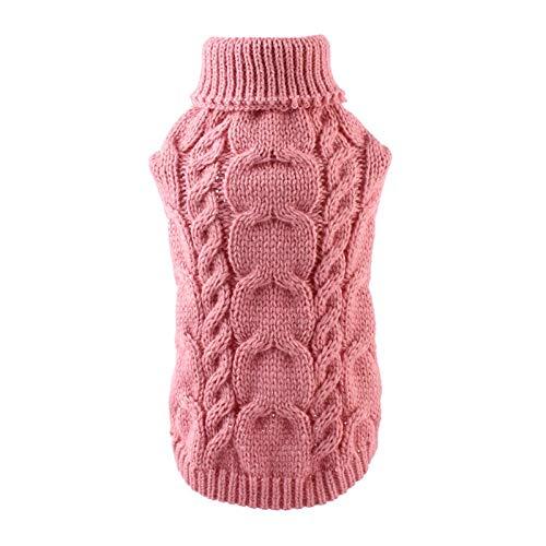 MAID Modisch Nützlicher Strick-Hundepullover für kleine mittelgroße Hunde Komfortable warme Haustier-Jumper Klassische Kleidung Winter Herbst Geeignet für Haustiere. (Color : Pink, Size : Large)