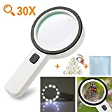 Glittery 30X Magnifying Glass with Light, High Power Handheld 12 Led Lights Magnifiers for Seniors Reading, Soldering, Jewelry, Coins, Stamps, Map, Inspection, Exploring, Macular Degeneration