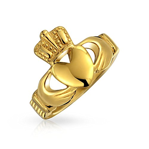 Bling Jewelry BFF Celtic Irish Friendship Parejas Prometen Claddagh Anillo para Hombres para Mujeres 14K Oro Plateado Acero Inoxidable