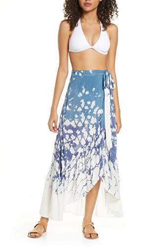Surf Gypsy - Dip Dye Asymmetrical Ruffle Wrap Skirt | Swimsuit & Beach | Bikini Coverup Around | Lightweight Non-Stretch Flowy | 100% Rayon for Women. (Medium)