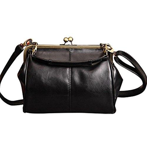 luoluoluo Borsa a tracolla Donna retrò vintage spalla borsa borsa tote bag borsa cross body bag borsa da viaggio borsa da spiaggia Bag trucco (Nero)