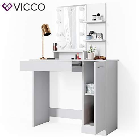 Vicco LED Schminktisch Julia Frisiertisch Kommode Frisierkommode Schminkkommode mit Beleuchtung (Weiß)