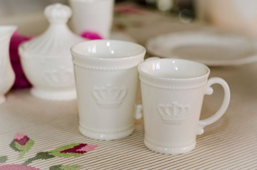 Tasse Kaffeetasse Krone Porzellan weiß Landhaus Franske Shabby