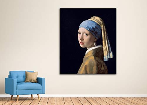 Afbeelding op canvas, motief: La Joven de la Perla Johannes Vermeer, Muchacha met turban, canvas van hout, 3 cm, geproduceerd in Spanje, druk in hoge resolutie - verschillende maten 50x42 – 60x50 – 80x67 – 100x84 – 120x101 Kleur.