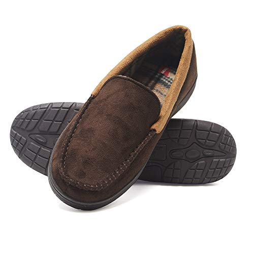 Hanes Men's Moccasin Slipper House Shoe with Indoor Outdoor Memory Foam Sole Fresh Iq Odor Protection, Brown, Medium