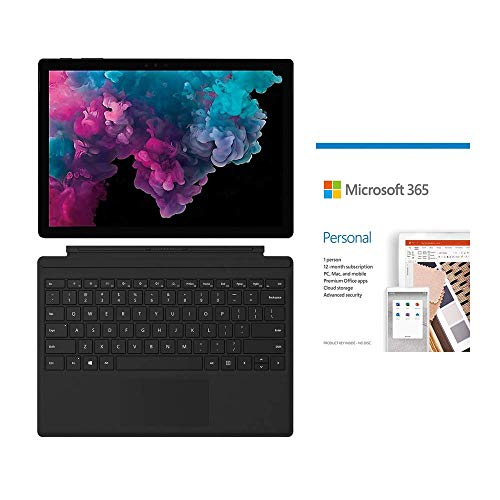 Microsoft Surface Pro 6 12.3' (2736 x 1824) Touchscreen 2 in 1 Tablet, Intel Core i7, 8GB RAM, 256GB SSD, Win 10 w/Microsoft 365 Personal, Type Cover - Black (Renewed)