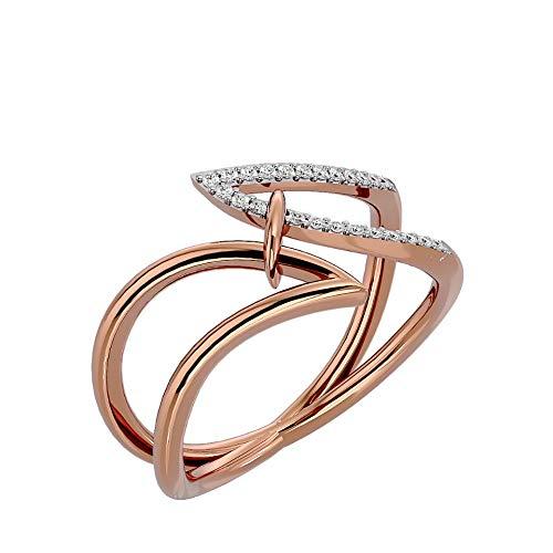 VVS - Anillo de aniversario de diamante natural de 18 quilates, oro blanco, oro amarillo, oro rosa con forma redonda de 0,12 quilates, para mujer (color I-J, claridad SI)