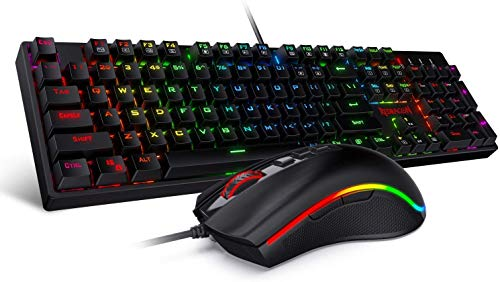 Redragon K582-BA Wired Mechanical Gaming Keyboard & M711 Cobra Gaming Mouse Combo, 10,000DPI, 7 Programmable Buttons, RGB LED Backlit Keyboard Mouse Set for PC, Laptop, Computer (Renewed)