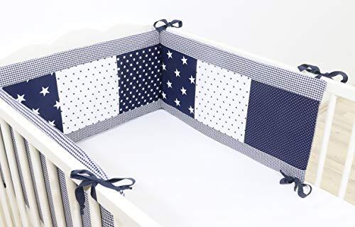 ULLENBOOM ® baby bedomrander l 210 x 30 cm l stootrand voor ledikantjes, hoofdbeschermer ledikant in de maat 140 x 70 cm I blauwe sterren