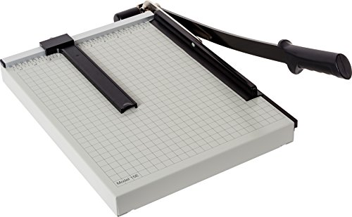 Dahle 15e Vantage Paper Trimmer, 15' Cut Length, 15 Sheet, Automatic Clamp, Adjustable Guide, Metal Base with 1/2' Gridlines, Guillotine Paper Cutter, Gray
