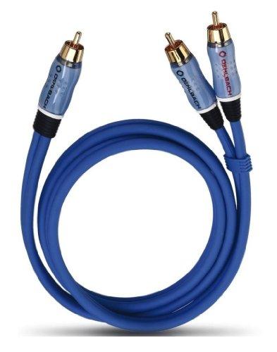 Oehlbach BOOOM 200 - Subwoofer Y-Cinch-Kabel (2 x Cinch auf 1 x Cinch) - Druckvolle Basswiedergabe & effektive Schirmung - 2m - blau