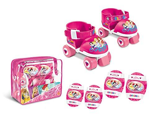 Mondo Toys-Pattini a rotelle Regolabili Princess Disney per Bambini-Taglia dal 22 al 29-Set Completo di Borsa Trasparente, gomitiere e Ginocchiere, 18488
