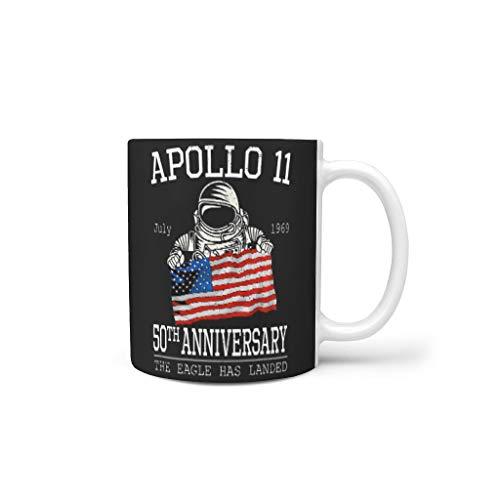 O5KFD&8 11 OZ Astronaut Apollo 11 50th Anniversary Mischen Tee Becher mit Griff Porzellan Personalized Becher - NASA Freunde, Anzug für Büro verwenden White 330ml