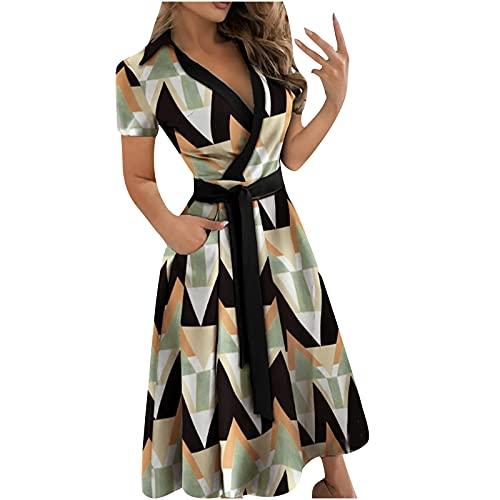 Vestido de verano para mujer en el Reino Unido Liquidación de Señoras Casual Vendaje Suelto Manga Corta Sólido Cuello en V Longitud al Tobillo Vestido Fiesta Elegante Vestidos Playa Casual