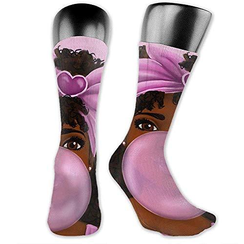 NGMADOIAN Schwarzafrikanisches Mädchen Kaugummi über der Wade Socken Sportliche Socken Kniestrümpfe Für Männer Frauen Sport Lange Sockenstrümpfe 40CM