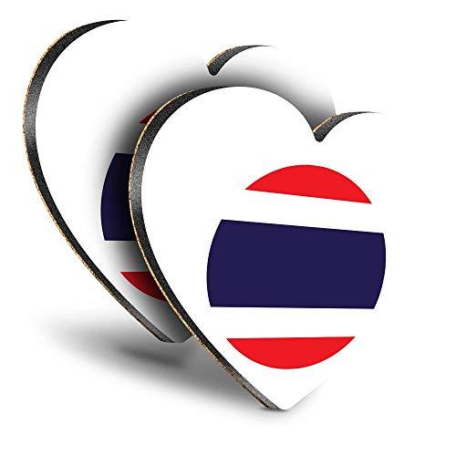 Destination Vinyl ltd Great Posavasos (Juego de 2) Corazón – Bandera de Tailandia para viajes, bebidas brillantes, protección de mesa para cualquier tipo de mesa #9096
