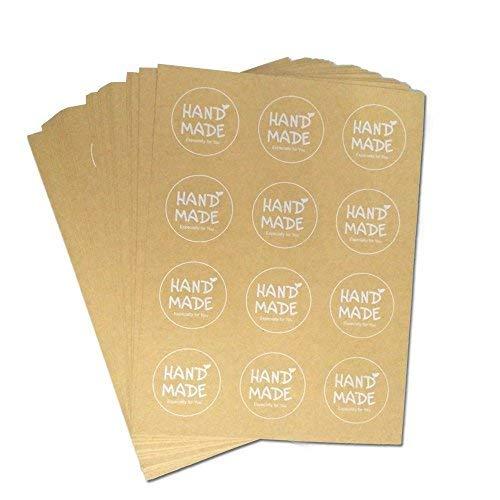 120 pcs Etiquetas Adhesivas Pegatinas Redondas Kraft con 'Handmade' impreso para Regalo de Bodas Bricolaje Hecho a Mano