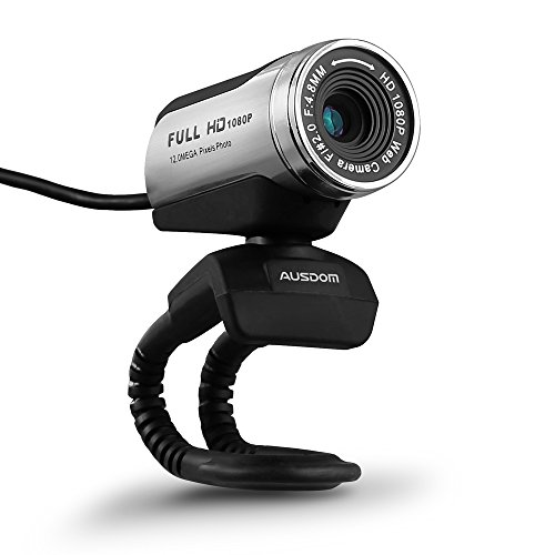 AUSDOM HD Webcam 1080P with Microphone, USB Desktop Laptop Web Camera 12.0MP, Auto Exposure, Pro Streaming Computer Camera for Laptop/Desktop/Skype/FaceTime/YouTube/Yahoo Messenger/Zoom