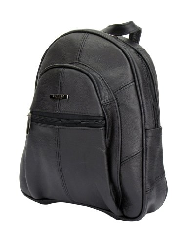 LORENZ Small Leather Zip Round Backpack Day Bag Day Sack Rucksack Capacity Approx. 4 litters - Various Colours (3748-BLACK)