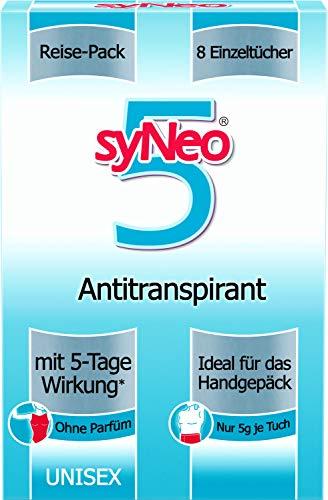 syNeo 5 Antitranspirant Reise-Packung, Deotücher für Damen und Herren, 1er Pack (8 x 2,5ml)